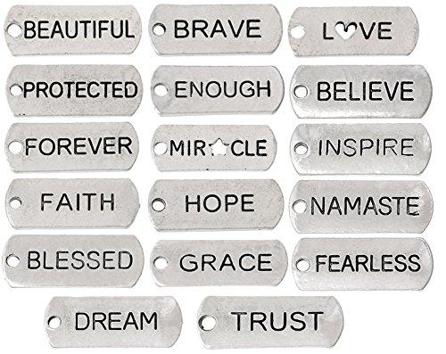 Inspirational Message Charm Pendants, Silver Tone (100 Random