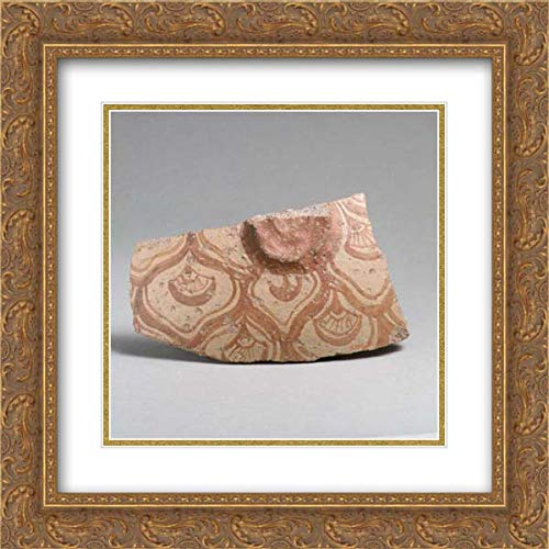 Minoan Culture - 20x20 Gold Ornate Frame and Double Matted Museum Art Print - Terracotta Vessel Fragment with Reticulated Pattern enclosing Conventional Flowers