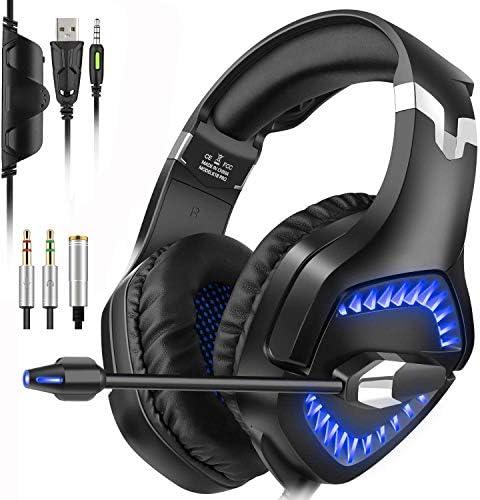 Xflelectronic Stereo-Gaming-Kopfhörer, Gaming-Headset, Over-Ear-Kopfhörer mit Geräuschunterdrückung und 3,5-mm-Mikrofon-Lautstärkeregler für Laptops/Tablets/Macs/Smartphones/PCs