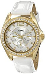 XOXO Women's XO3354 Rhinestone-Accented Gold-Tone Watch with White Faux-Leather Strap