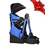 Clevr Deluxe Baby Toddler Backpack Cross Country Lightweight Carrier with Stand Child Kid Sun Shade Visor, Blue, Upgraded foot straps
