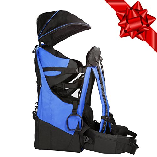 Clevr Deluxe Baby Toddler Backpack Cross Country Lightweight Carrier with Stand Child Kid Sun Shade Visor, Blue, Upgraded foot straps by Clevr