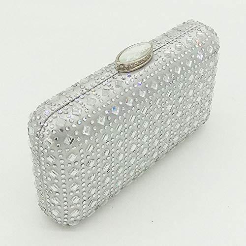 Sencilla Noche Femenino Embrague Vestido Plata Doble De Pequeña Cara Pequeño Bolso Rhinestone Bolsa Cuadrada Diamante Versátil gYAqnx1
