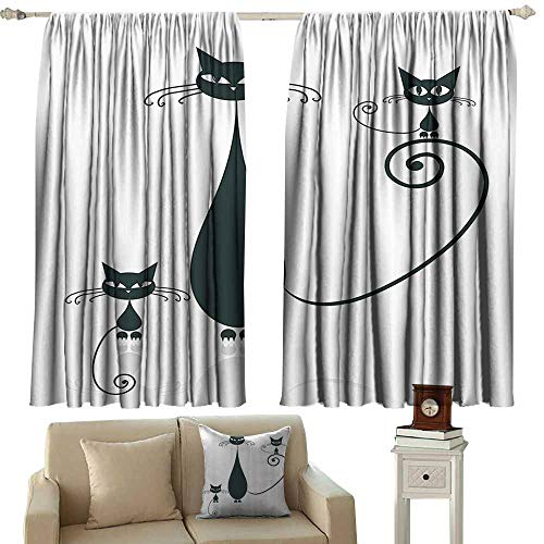 (Blackout Window Curtain,Cat Lover Decor Collection Cat Silhouette Mom and Kids Animals Simplicity Halloween Decorative Illustration,Rod Pocket Drapes Thermal Insulated Panels Home décor,W63x45L)