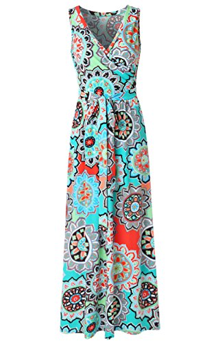 Zattcas Womens Bohemian Printed Wrap Bodice Sleeveless Crossover Maxi Dress,Turquoise Multi,Large (Turquoise Maxi Dress Plus Size)