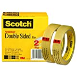 Scotch Brand Double Sided Tape, Long-Lasting, Photo-Safe, No Liner, Engineered for Bonding, 3/4 x 1296 Inches, 3 Inch Core, 2 Rolls (665-2P34-36)