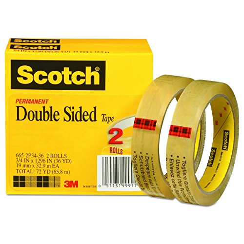 Scotch Brand Double Sided Tape, Standard Width, Trusted Favorite, Engineered for Holding, 3/4 x 1296 Inches, 3 Inch Core, Boxed, 2 Rolls (665-2P34-36) ()