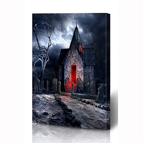 Ahawoso Canvas Prints Wall Art 8x10 Inches Skull Dark Gothic Scenery Old Crypt Creepy Bones Cemetery Tombstone Wooden Frame Printing Home Living Room Office Bedroom