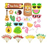 42Pcs Luau Hawaii Cupcake Toppers for Hawaiian Luau Summer Flamingo Birthday Holiday Tropical Tiki Beach Parties Cake Food Decoration Supplies