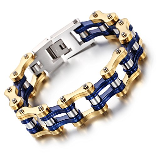 NELSON KENT Men Titanium Steel Thickened Bicycle Chain Bracelet Gold Blue