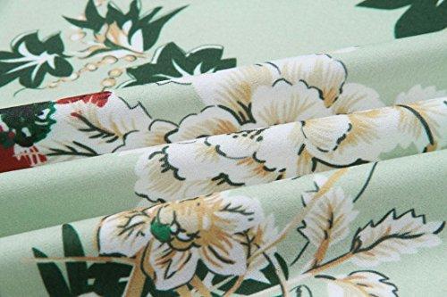 cordones verano Floral Ai vestido Impreso con Wrap verde manga Falbala corta Mujeres Casual moichien de tOxqwOav