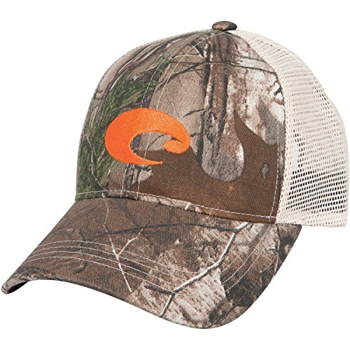 Costa Del Mar Mesh Hat with Orange Logo, Realtree Xtra ()
