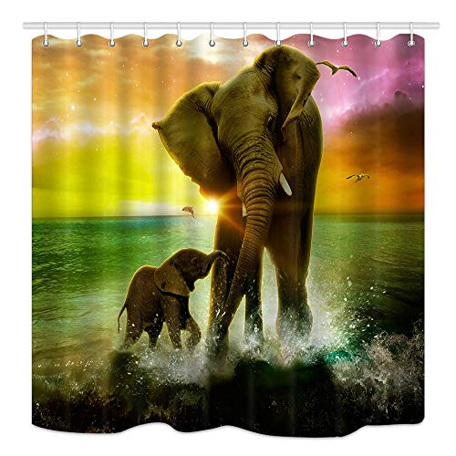 DYNH Animal Theme Shower Curtain, Safari Art, Africa Elephant and Baby Playing in Ocean at Sunrise, Mildew Resistant Fabric Bathroom Decor, Bath Curtains Accessories, with Hooks, 69X70 Inches
