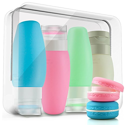 Green Cream Makeup Tube - Leak Proof Travel Bottles Set,CHFUN 6 Pack 3 Fl.oz TSA Approved Silicone Squeeze Refillable Cosmetic Travel Containers Tubes Accessories, Perfect for Carry-on Luggage Liquid, Toiletries and Cream