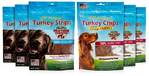 Healthy Partner Turkey - Healthy Partner Pet Snacks - Turkey Variety Pack - All-Natural Chips and Strips - 3 oz. Bags, Pack of 6