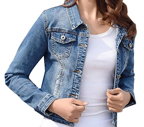 Pandapang Womens Casual Distressed Slim Crop Faded Outdoor Denim Jackets Light Blue Medium ()