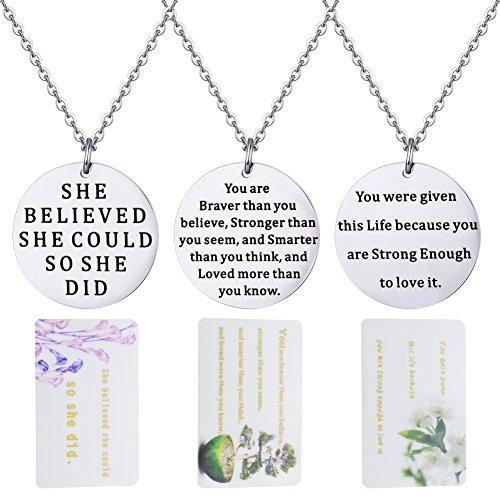 AnotherKiss Inspirational Jewelry Motivational Charm Necklace Birthday Graduation Gifts for Women Girls (Pendant Graduation Charm)