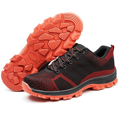 Eclimb Mens Safety Steel-Toe Work Shoes Red NiZlwG