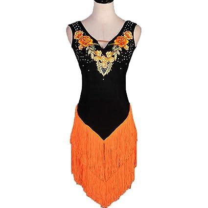 Naranja Borla Vestidos de Baile Latino para Damas/Niñas Traje de ...