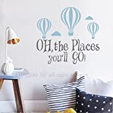 Oh the Places You'll Go Wall Decal - Hot Air Balloon Wall Decal Kids Wall Decor Baby Nursery Quotes