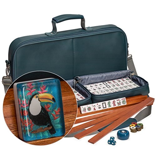 Yellow Mountain Imports American Mahjong Set, Toucan with Soft Leatherette Case - All-in-One Racks with Pushers, Wright Patterson Betting Coins, Dice, & Wind Indicator Included (Set Gold Coin Dragon)
