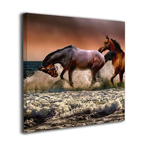 Fu Qi Rui Shang Mao Canvas Wall Art Prints Brown Horses Running On The Beach Picture Paintings Contemporary Home Decoration Giclee Artwork Wood Frame Gallery Stretched 20