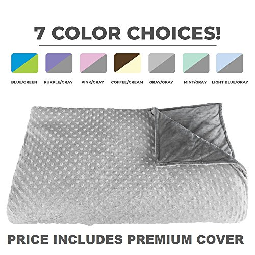 "Premium Weighted Blanket, Perfect Size 60"" x 80"" and Weight (12lb) for Adults and Children. Deluxe CALMFORTER(tm) Blanket. Price Includes Cover!"