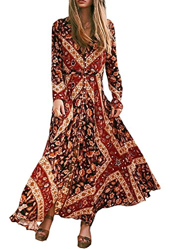R.Vivimos Women Long Sleeve Vintage Floral Print Beach Boho Button Up Maxi Long Dresses