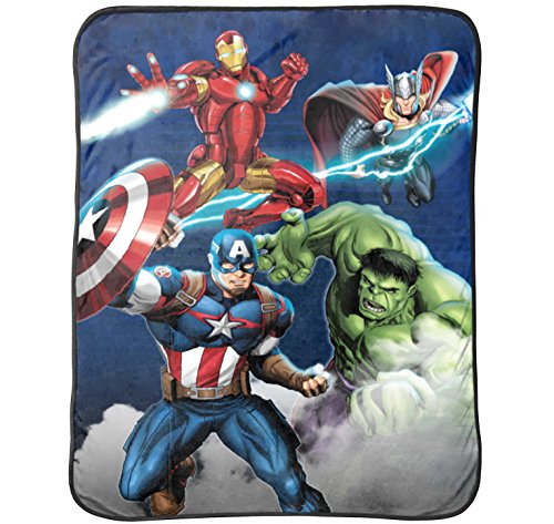 Marvel Avengers Blue Circle Fleece Plush Throw by Marvel