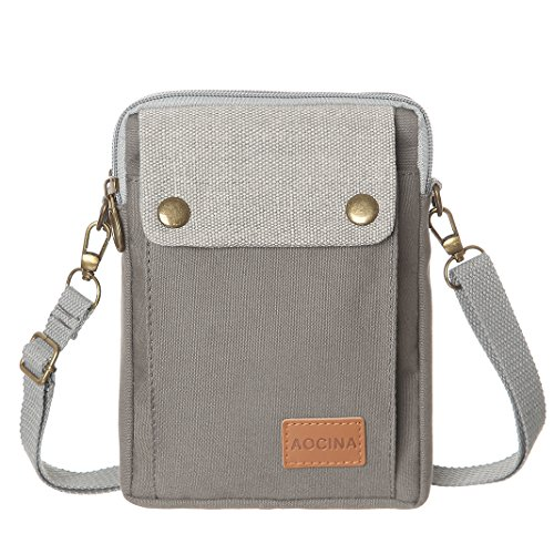 Cell Phone Purse Wallet Canvas Big Pocket Women Small Crossbody Purse Bags (Gray) by AOCINA