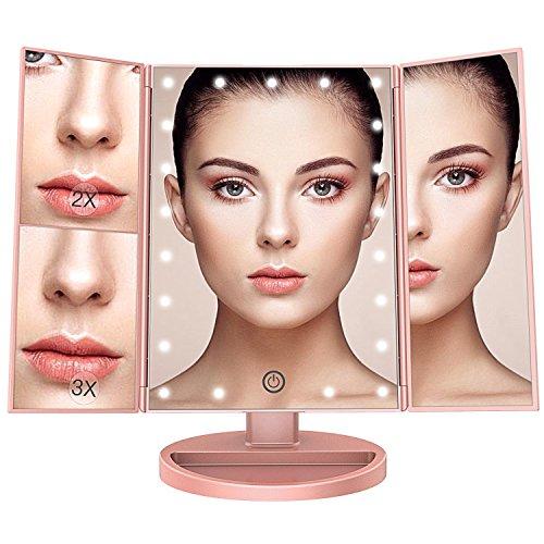 Hye | Espejo de Maquillaje Iluminado por LED con Base de 180 Grados y Espejo Puntual de Aumento (Oro Rosa)