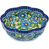 Polish Pottery Colander 9-inch Bold Blue Poppies UNIKAT
