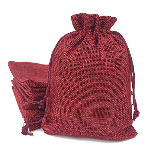 50PCS Burlap Favor Gift Bags with Drawstring and Cotton Lining (6.7 X 9 Inch, 05 Red)