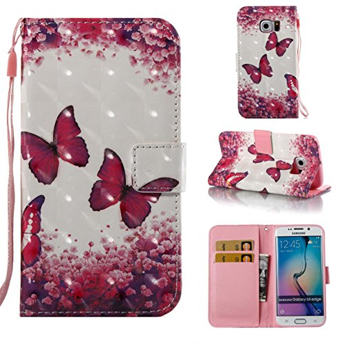 Firefish Galaxy S6 Edge Case,PU Leather Shock Proof Bumper Cover Lightweight Kickstand Case with Magnetic Card Holder and Strap Birthday Xmas for Boy Girl for Samsung Galaxy S6 Edge