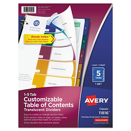 - Avery(R) Ready Index(R) Translucent Table Of Contents Dividers, 5-Tab, Multicolor