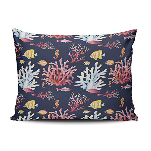 (DOUMIFA Watercolor Coral Reef Tropical Fishes Corals and sea Horse 12x20 Lumbar Throw Pillow Case Decor Cushion Covers One Sided Printed)