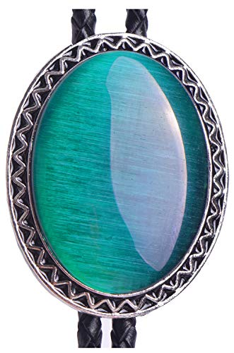 (Yuanmo Bolo Tie with Natural Cat Eye Emerald and Turquoise Stone Style Genuine and Cowhide Rope )