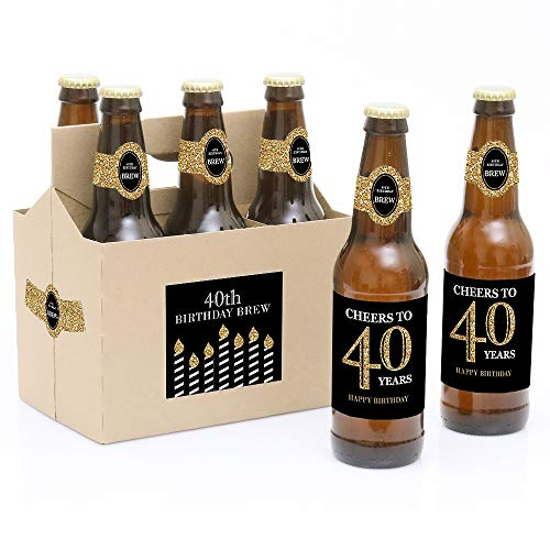 Label Carrier - Adult 40th Birthday - Gold - Birthday Party Decorations for Women and Men - 6 Beer Bottle Label Stickers and 1 Carrier