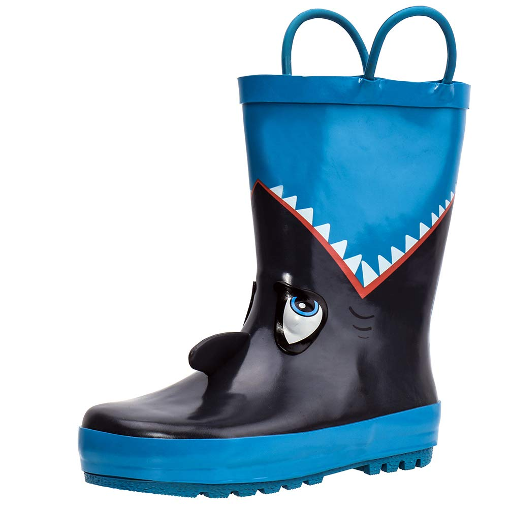 ALEADER Kids Waterproof Rubber Rain Boots for Girls, Boys & Toddlers with Fun Prints & Handles Blue/Shark 6 M US Toddler