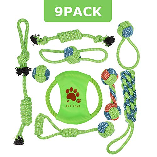 AriTan Dog Rope Chew Tug Toys, Set of 9 Heavy Duty Teeth Cleaning Assortment for Small Medium Large Pet Breeds (Best Heavy Duty Dog Toys)