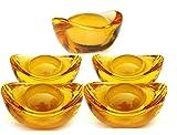 """Yellow Crytal Feng Shui Golden Ingot / Yuan Bao for Wealth Luck,5 Pcs 1.3"""""""