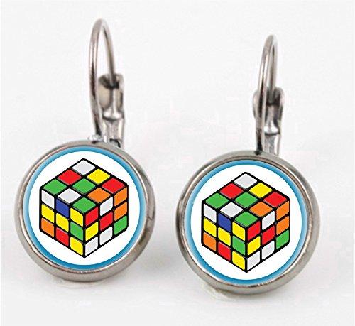 Rubiks Cube Leverback Earrings