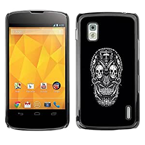 Exotic-Star ( White Black Ink Tattoo Minimalist ) Fundas Cover Cubre Hard Case Cover para LG Google NEXUS 4 / Mako / E960
