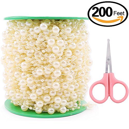 Swpeet 200 Feet Ivory Pearl Strands with Scissors, Large Pea