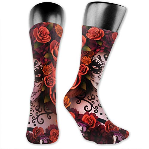 WOWINNER Great Gifts - Unisex Women Men Sugar Skulls and Roses Day of Dead Halloween Soft Breathable High Ankle Casual Cotton Socks Thicker Below Knee Stockings Comfortable Crew -