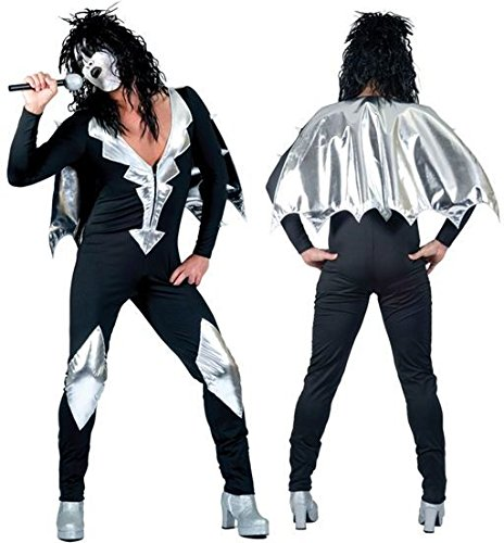 Kiss Band Halloween Costume (Bristol Novelty Black/Silver Glam Rock Jumpsuit 56/58 Costumes Men's)