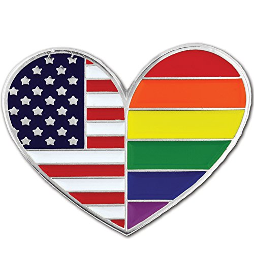 PinMart Gay Pride USA American Flag Heart LGBT Enamel Lapel -