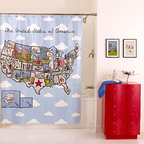 Amazon.com: Home Classics Shower Curtain (Name That State): Home ...