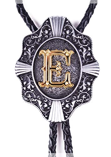 Golden Initial in Flower Nursery Cowboy Bolo Tie with Cowhide Rope (E)