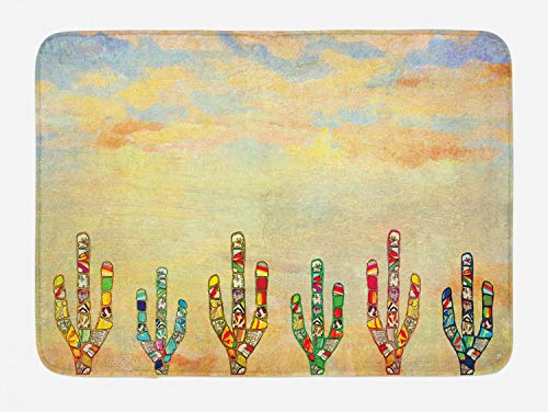 """Lunarable Mexican Theme Bath Mat, Ornamented Colorful Cacti Drawings in a Southwestern Style Vintage Pastel Sky, Plush Bathroom Decor Mat with Non Slip Backing, 29.5"""" X 17.5"""", Beige Blue"""
